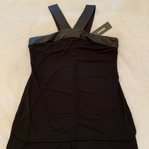DKNY halter top with leather trim